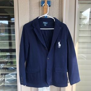 Boys L 14-16 POLO Ralph Lauren Navy Fleece Blazer
